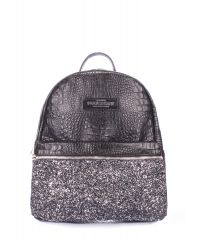 Рюкзак женский кожаный POOLPARTY mini-bckpck-leather-croco-black-glitter