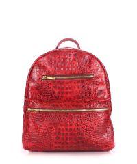 Рюкзак женский кожаный POOLPARTY mini-bckpck-leather-croco-red