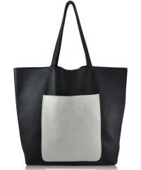 Женская кожаная сумка poolparty-mania-darkblue-white синяя с белым