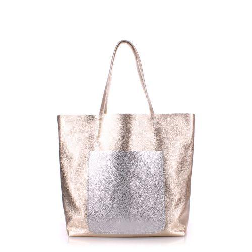 Женская кожаная сумка poolparty-mania-golden-silver золотая с серебром