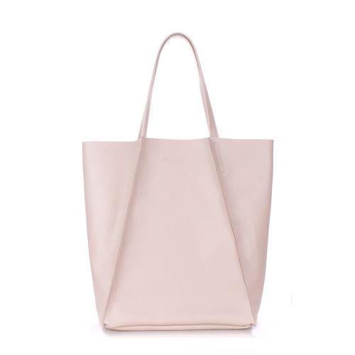 Женская кожаная сумка Poolparty edge-beige бежевая