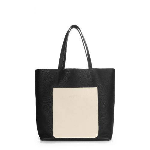 Женская кожаная сумка poolparty-mania-black-beige черная