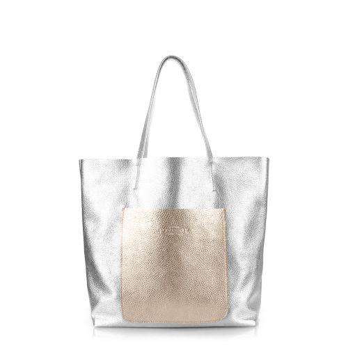 Женская кожаная сумка poolparty-mania-silver-gold серебристая
