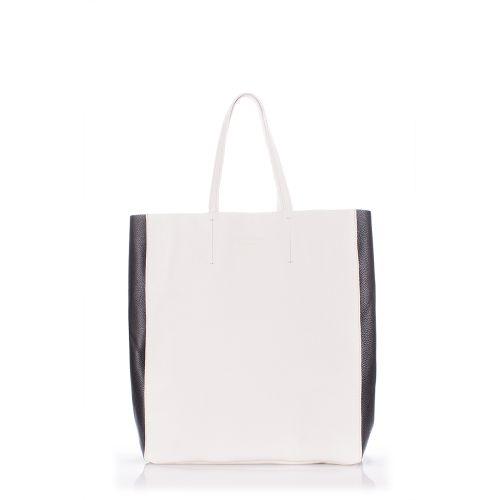 Женская кожаная сумка pooparty-city2-white-black белая с черным