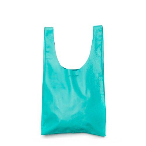 Женская кожаная сумка poolparty-leather-tote-blue голубая