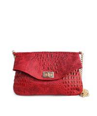 Женский кожаный клатч poolparty-red-crocodile-clutch красный