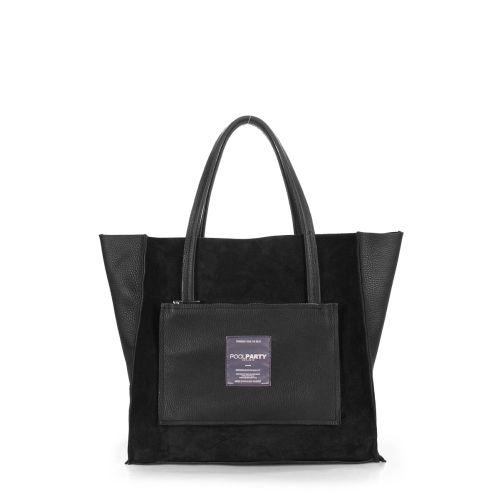 Женская кожаная сумка poolparty-soho-insideout-black-velour черная