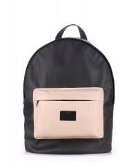 Рюкзак PoolParty backpack-pu-black-beige