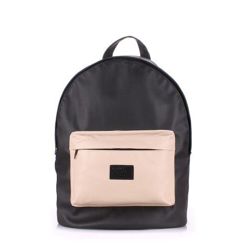Рюкзак PoolParty backpack-pu-black-beige