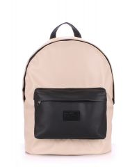 Рюкзак PoolParty backpack-pu-beige-black