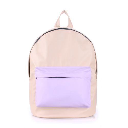 Рюкзак PoolParty backpack-pu-beige-lilac