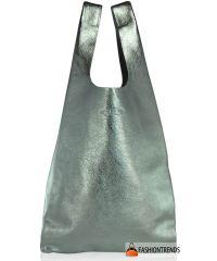 Женская кожаная сумка POOLPARTY leather-tote-silver серебро