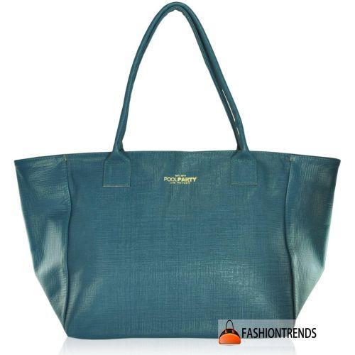 Женская кожаная сумка Poolparty Desire Safyano бирюзовая