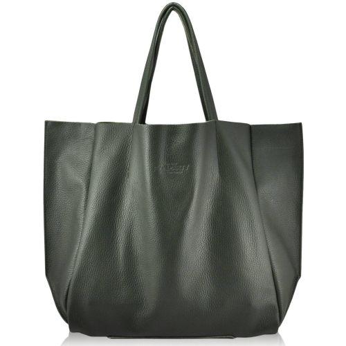 Женская кожаная сумка Poolparty soho-khaki зеленая