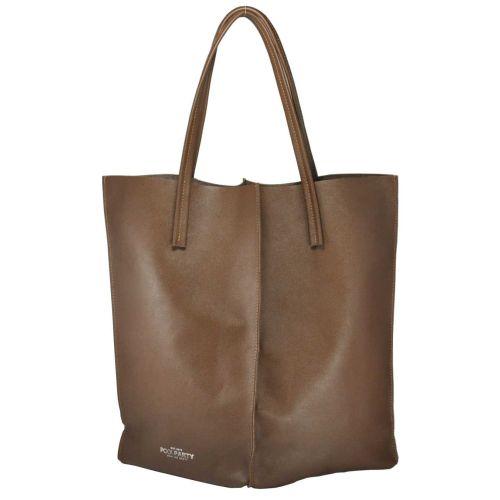 Женская кожаная сумка Poolparty milan-safyan-brown коричневая