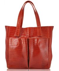 Женская кожаная сумка с карманами Crocodile ярко красная