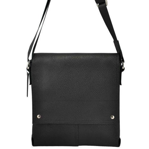 Мужская кожаная сумка с заклепками черная