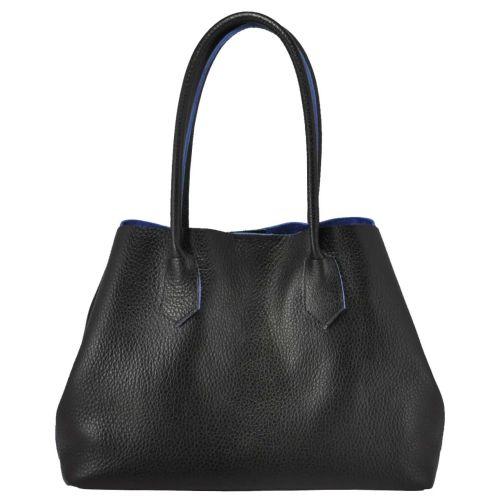 Женская кожаная сумка 848 черная с синим
