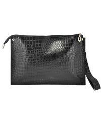 Женский кожаный клатч конверт Crocodile черный