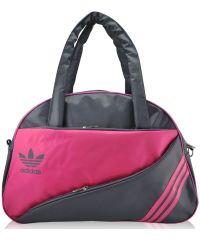 Спортивная сумка Diagonal серая с малиновым