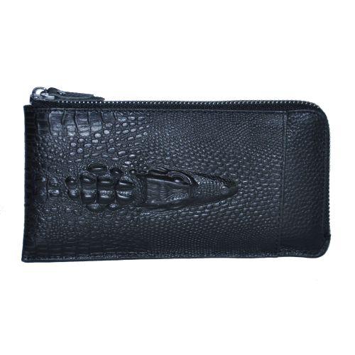 Кожаный клатч Beallerry Crocodile черный