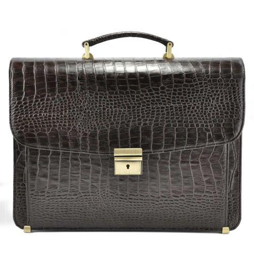 Мужской портфель М45 Crocodile кожаный коричневый