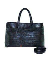 Кожаная сумка Trio черная кроко