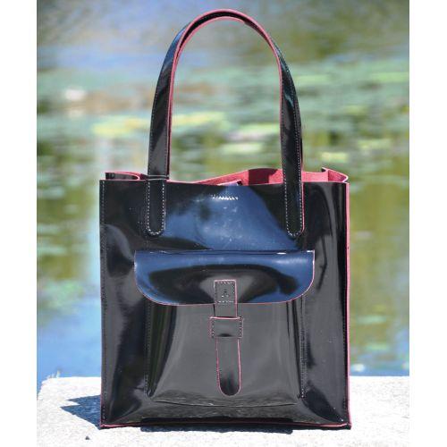 Лаковая сумка 11410510 черная с бордовым