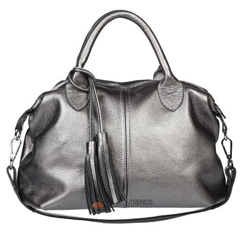 Женская кожаная сумка Барселона никель