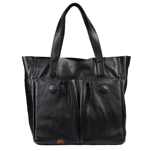 Женская кожаная сумка с карманами черная