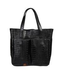 Женская кожаная сумка с карманами Crocodile черная