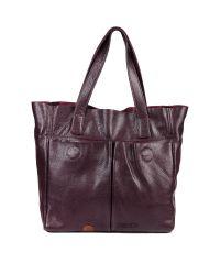 Кожаная сумка с карманами виноградная