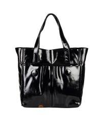 Женская кожаная сумка с карманами лак черная