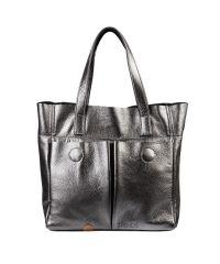 Кожаная сумка с карманами никель