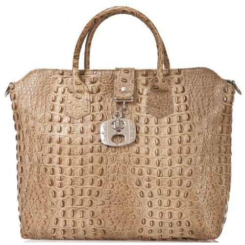 Женская кожаная сумка BC127 бежевая