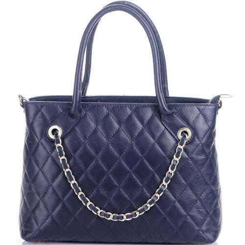 Женская кожаная сумка BC140 темно-синяя