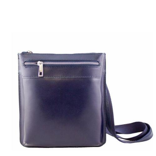 Кожаная сумка унисекс BC307 синяя