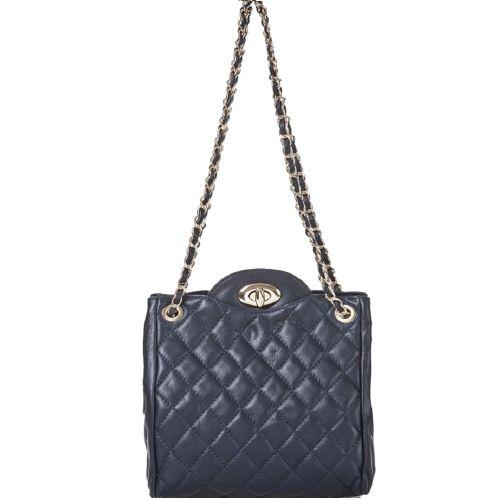 Женская кожаная сумка BC312 темно-синяя