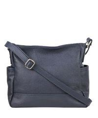 Женская кожаная сумка BC318 тёмно-синяя