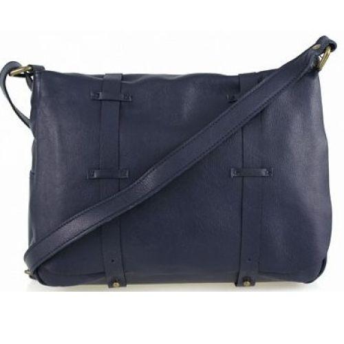Женская кожаная сумка BC321 темно-синяя