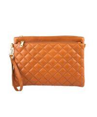 Женская кожаная сумка клатч BC503 рыжая