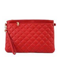 Женская кожаная сумка клатч BC503 красная