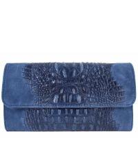 Женская кожаная сумка клатч BC504 синяя