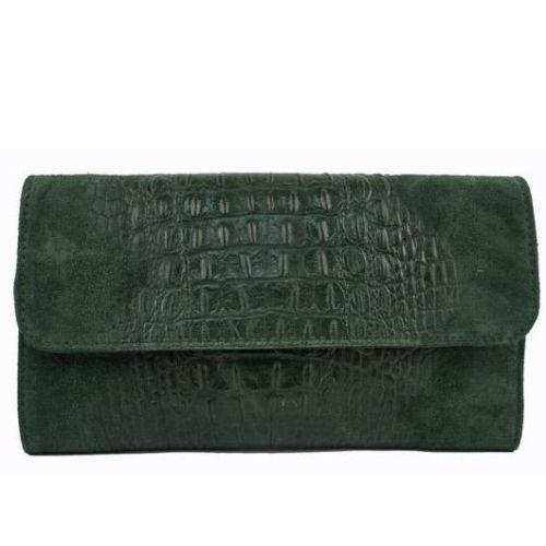 Женская кожаная сумка клатч BC504 зеленая