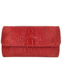 Женская кожаная сумка клатч BC504 красная