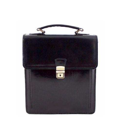 Кожаная сумка унисекс BC601 черная