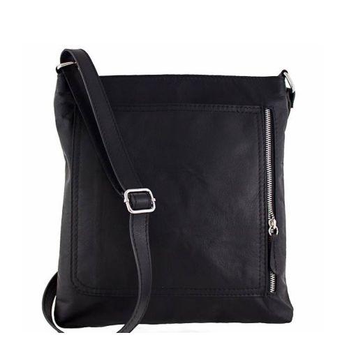 Кожаная сумка унисекс BC604 черная