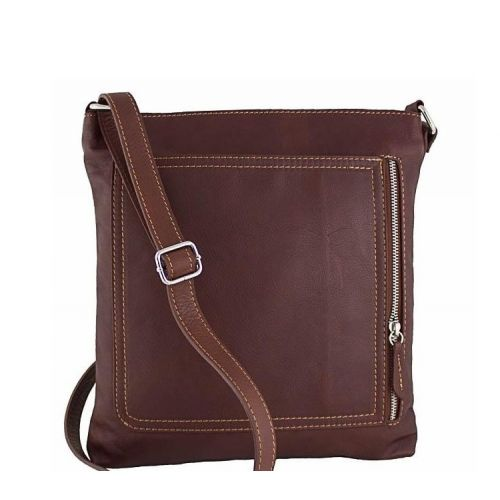 Кожаная сумка унисекс BC604 коричневая