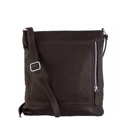 Кожаная сумка унисекс BC604 шоколадная
