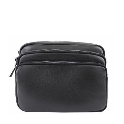 Кожаная сумка унисекс BC607 черная